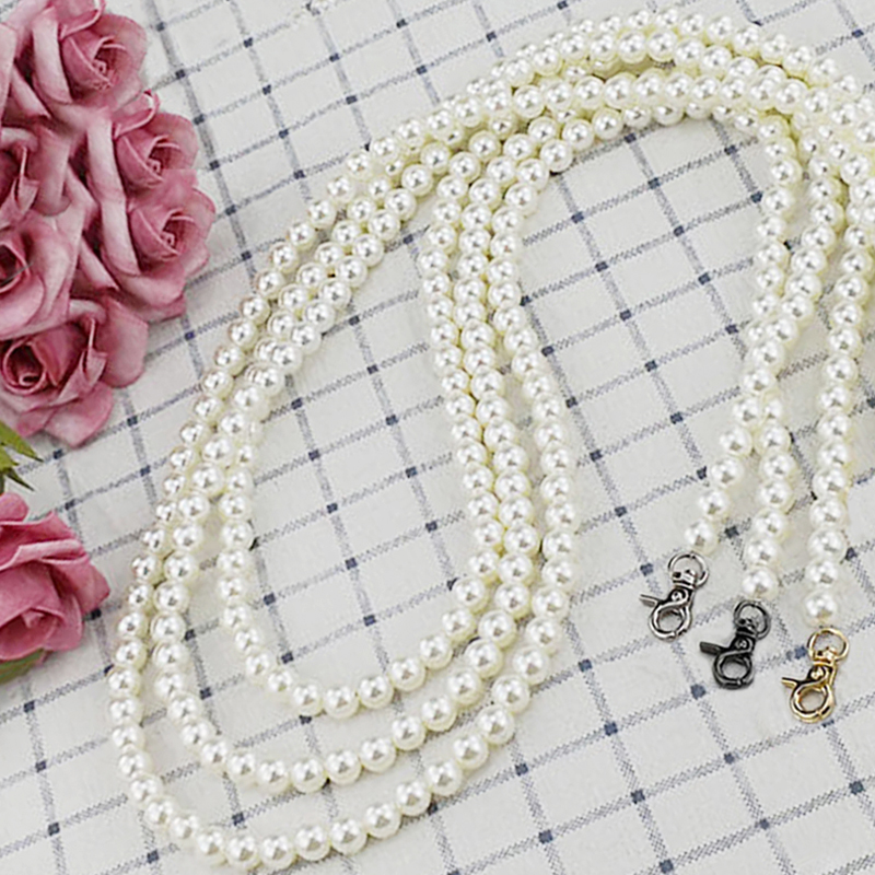 DIY 30cm-160cm Faux Pearl Bag Strap Replacement Shoulder Crossbody Purse Chain Strap Handle 12mm Beaded Pearl Chain