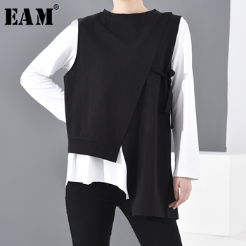 [EAM] Women Black Contrast Color Asymmetrical Big Size T-shirt New Round Neck Long Sleeve  Fashion Spring Autumn 2021 1D19201 - discount item  33% OFF Tops & Tees