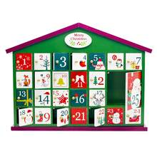 New Christmas Countdown Calendar Wooden Xmas House Gift Storage Box Children Candy Gift Surprise Box Christmas Ornament(China)