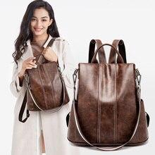 Vento Marea Anti Theft Women Backpack Leather Vintage Style Shoulder Bag For Girl Brand Designer Multi Function Travel Backpacks