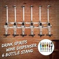 6 Bottles Bar Wine Holder Shots Stand Machine Wall Bracket Wall Mounted Wine Liquor Drinks Dispenser Bar Tool For Beer Soda
