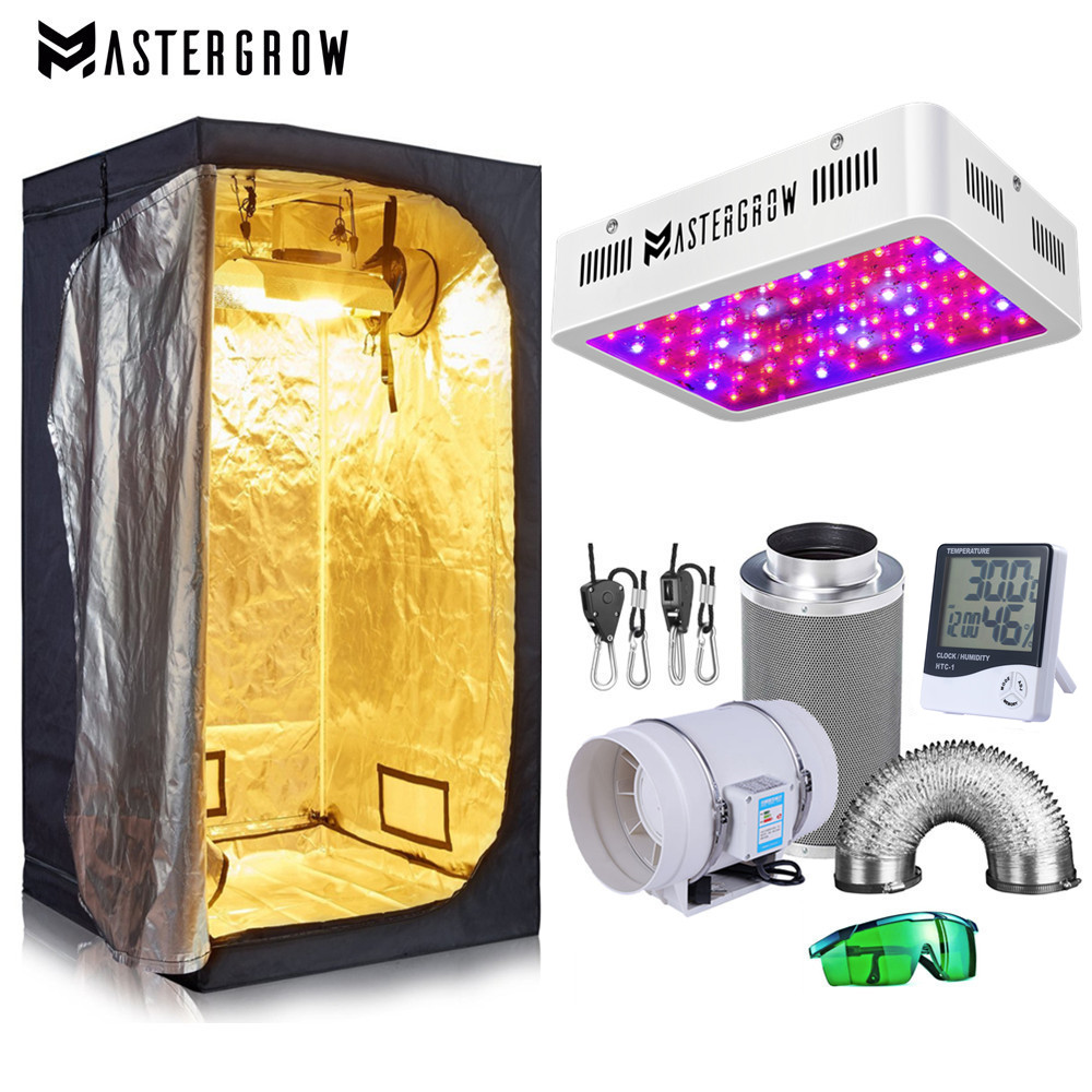 """Grow Tent Room Complete Kit Hydroponic Growing System 1000W LED Grow Light + 4""""/ 6"""" Carbon Filter Combo Multiple Size Dark Room"""