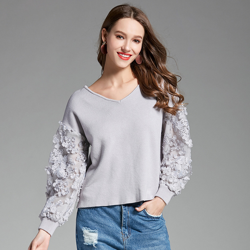 New Autumn Winter V Neck Puff Sleeve Knitting Pullovers Chiffon Sleeves Sweet Women Sweater Ladies Solid Jumpers 2020 Pull Femme