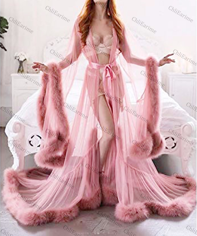 Women's Feather Edge Tulle Illusion Long Bridal Robe Wedding Scarf New Custom Made