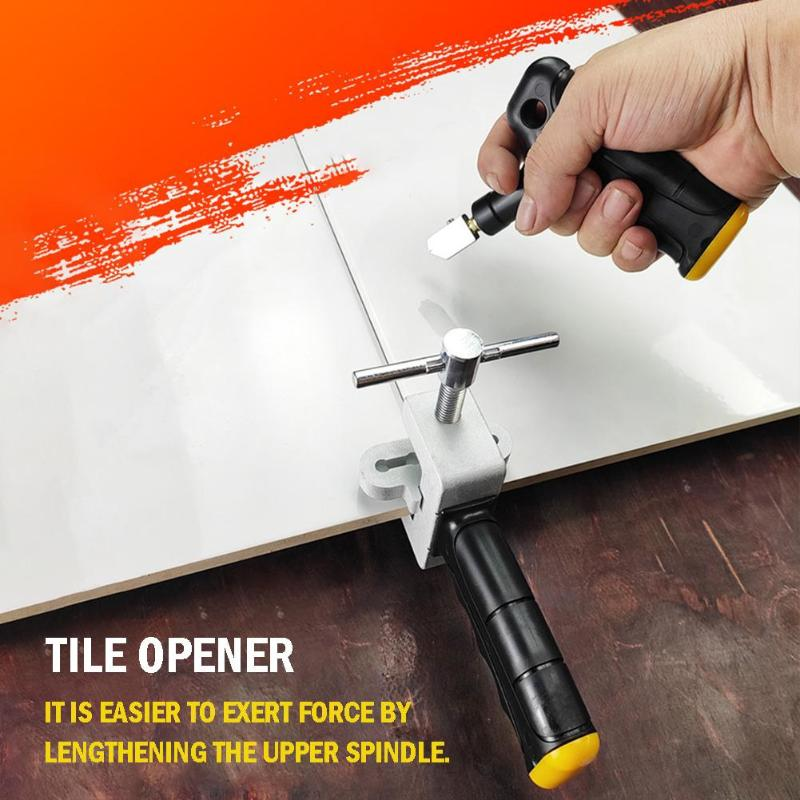 Tile Glass Cutter Ceramic Cutting Tools Handheld Sharp Breaker Labor-saving Opener With Spare Cutter Heads Standby Footpads
