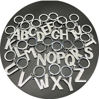 2020 Fashion New Crystal Rhinestone Alphabet Keyring Initial Letter Key Ring Chain Unisex Keychain 26 Letters