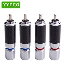YYTCG 2PCS Audiophile Eutectic Carbon Fiber Rhodium Plated Speaker RCA Male Plug Solder Wire Connector Splice Adapter Audio Jack