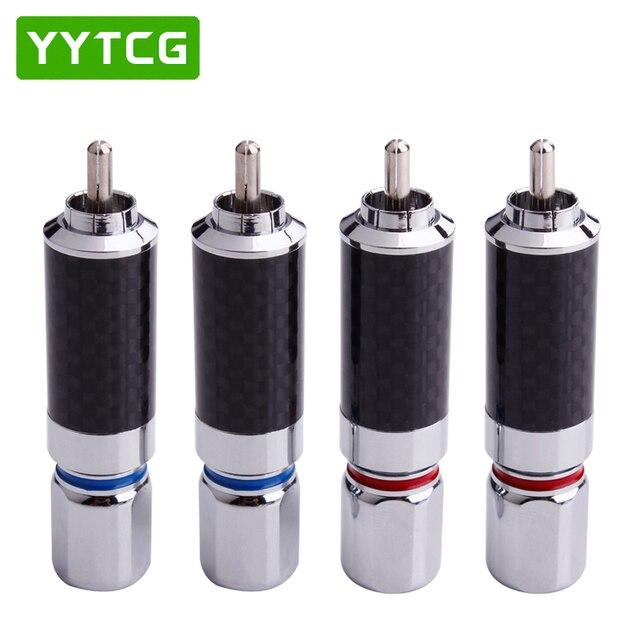 YYTCG 2PCS Audiophile Eutectic คาร์บอนไฟเบอร์โรเดียมชุบลำโพง RCA ชายปลั๊กสายไฟ Splice Audio Jack