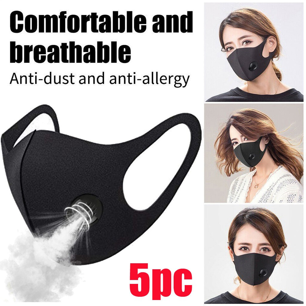#H30 5PCs Reusable Face Masks Black Face Mask Washable Mouth Cap With Breathing Valve Activated Carbon Mask Mascarillas