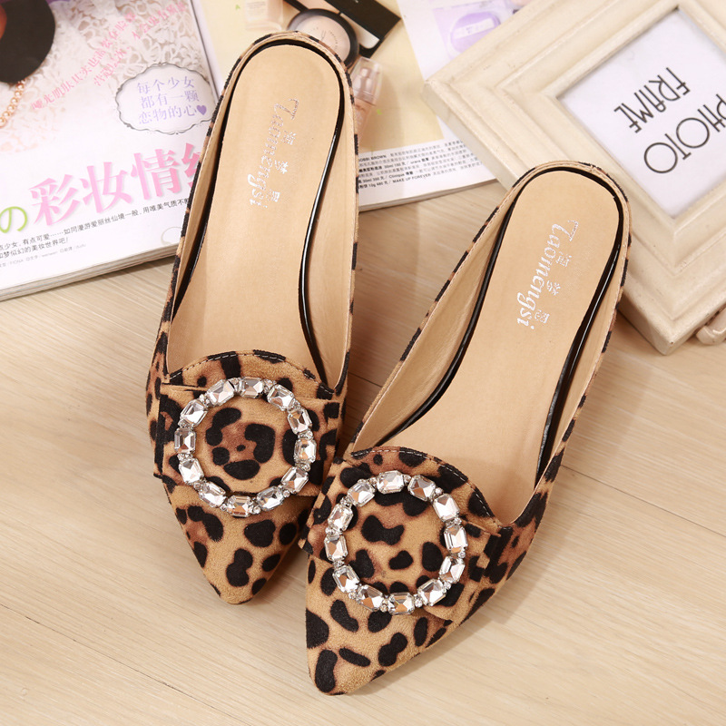 Large-Size Rhinestone Leopard Sandals Baotou Lazy Slippers Pointed Flat Shoes Women's