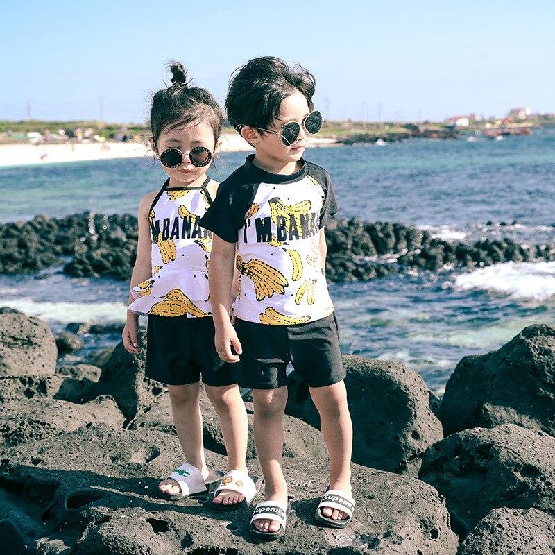2019 New Style Men And Women Child Baby Korean-style Cute Hot Selling Bathing Suit Split Type Swimwear Cartoon Banana Hot Spring