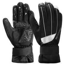 ROCKBROS Winter Waterproof Touch Screen Cycling Gloves Guantes Ciclismo Anti-slip Warm Fleece Reflective Ski Bike