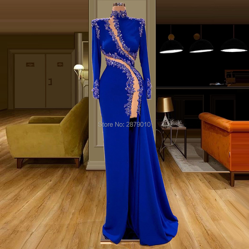 Royal Blue Evening Dress Sheath Floor-Length Sequins Beaded Robe De Soiree Aibye Prom Dress вечернее платье Middle East Dubai