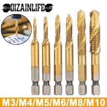 Dizainlife m3 m4 m5 m6 m8 m10 metric thread tap broca conjunto hex haste titânio chapeado hss parafuso composto torneira parafuso ferramenta de mão