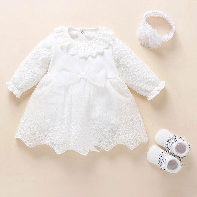 Noworodek dziewczynka sukienka i ubrania chrzest sukienka biała sukienka do chrztu dla dziewczynki koronki Vestido Bebe szata Bapteme 3 6 9 miesięcy