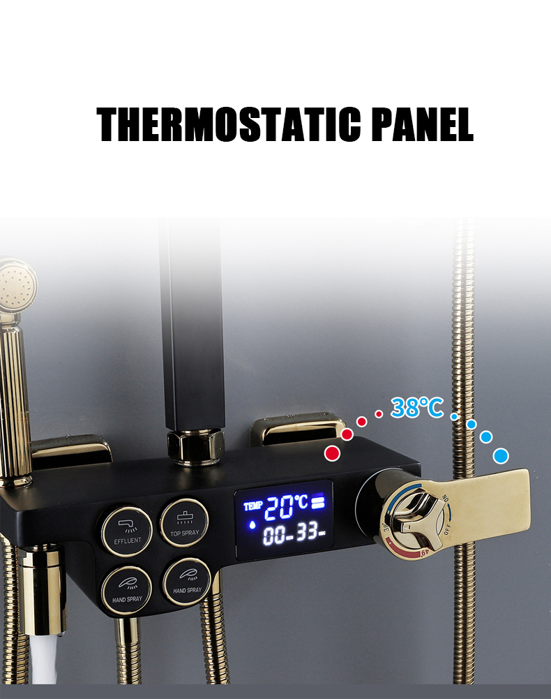 H7315e334308340f9a67fb951a2bb2fcaH Hot Cold Shower System Bathroom LED Digital Shower Set Wall Mount Smart Thermostatic Bath Faucet Square Head SPA Rainfall Grifo