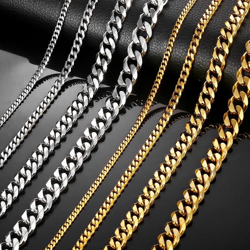 Colliers pour hommes femmes noir or argent couleur acier inoxydable gourmette cubaine chaînes hommes collier bijoux 3/5/7mm LKNM08