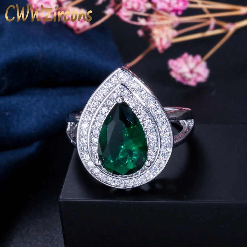 CWWZircons Classic Women Engagement Party Jewelry High Quality Big Tear Drop Green Crystal Rings with Zirconia Stones R026