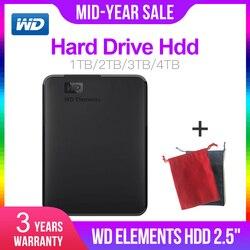 ويسترن ديجيتال WD Elements 2.5 المحمولة 1 تيرا بايت 2 تيرا بايت 3 تيرا بايت 4 تيرا بايت USB3.0 قرص صلب خارجي Hdd ديسكو دورو Externo Disque المحمولة