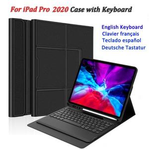 Bluetooth Keyboard For iPad Pro 12.9 11 Keyboard 2020 Auto Wake Tablet USA French Spanish German Keyboard Case For iPad Pro 12 9(China)
