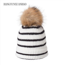 HANGYUNXUANHAO Women Autumn Winter Hats Gilrs Beanies Skullies Caps Fashion Striped Knitted Hat Gorro
