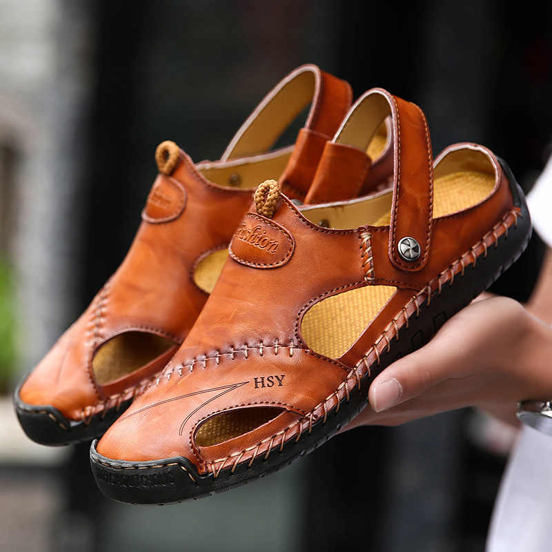 2019 Genuine Leather Men Sandals Shoes Summer Leisure Beach Men's Sandals High Quality Sandals Slippers Bohemia Big Size jk8