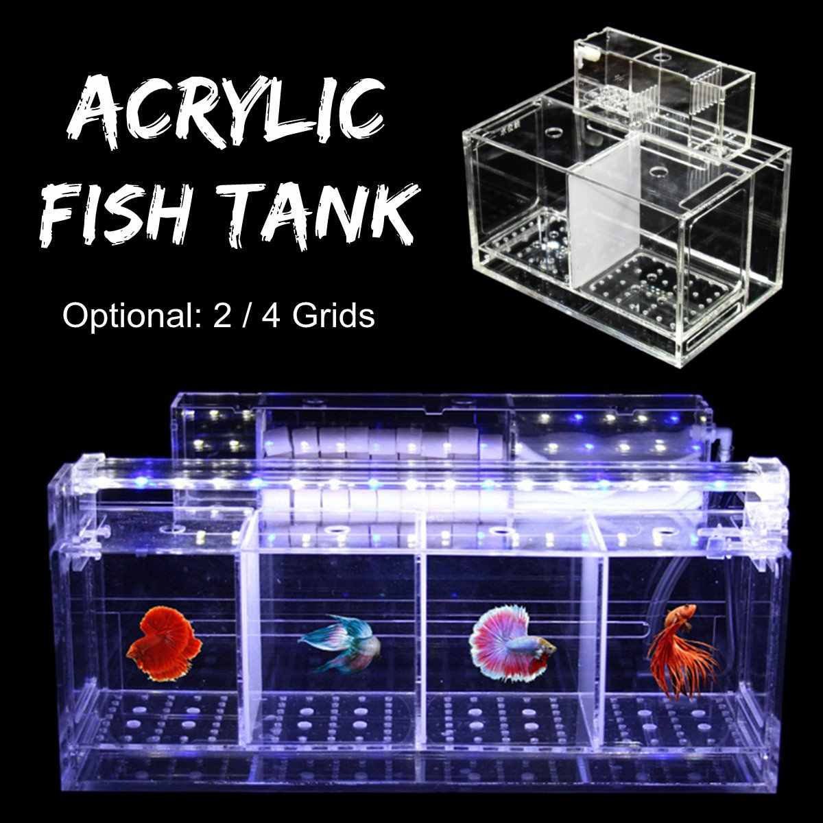 Transparan Acrylic Akuarium Bayi Betta Fish Tank Desktop Aquarium Filter Pembiakan Kotak Hatchery Isolasi Air Hewan Peliharaan