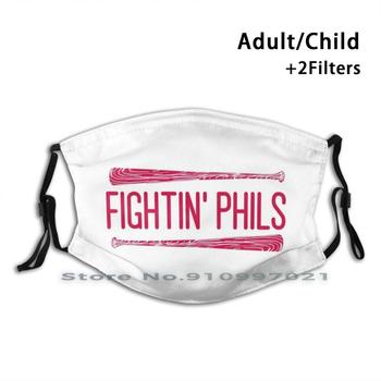 Fightin Phils-White Print Reusable Mask Pm2.5 Filter Trendy Mouth Face Mask For Child Adult Harper Phillies Phila Philadelphia image