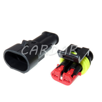 1 Set 2 Pin 282104-1 282080-2 AMP SuperSeal Waterproof Electrical Automotive Connector Wiring Socket For Cars image