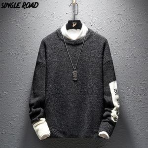 Image 1 - SingleRoad 두꺼운 스웨터 남자 2019 겨울 양모 옷 니트 풀오버 캐시미어 스웨터 남성 느슨한 패션 점퍼 고품질