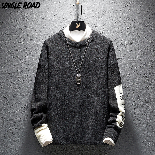 SingleRoad 두꺼운 스웨터 남자 2019 겨울 양모 옷 니트 풀오버 캐시미어 스웨터 남성 느슨한 패션 점퍼 고품질