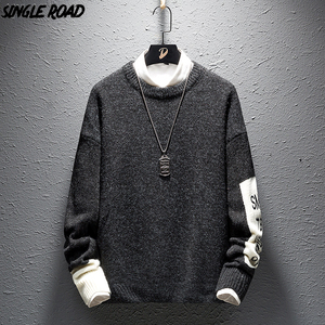 Image 1 - SingleRoad Thick Sweater Men 2019 Winter Wool Clothes Knitted Pullover Cashmere Sweaters Male Loose Fashion Jumper High Quality