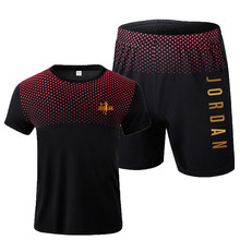 2021 popular nova malha masculina camiseta + calções esportivos terno masculino casual 23 verão de alta qualidade malha esportes camiseta corrida wear