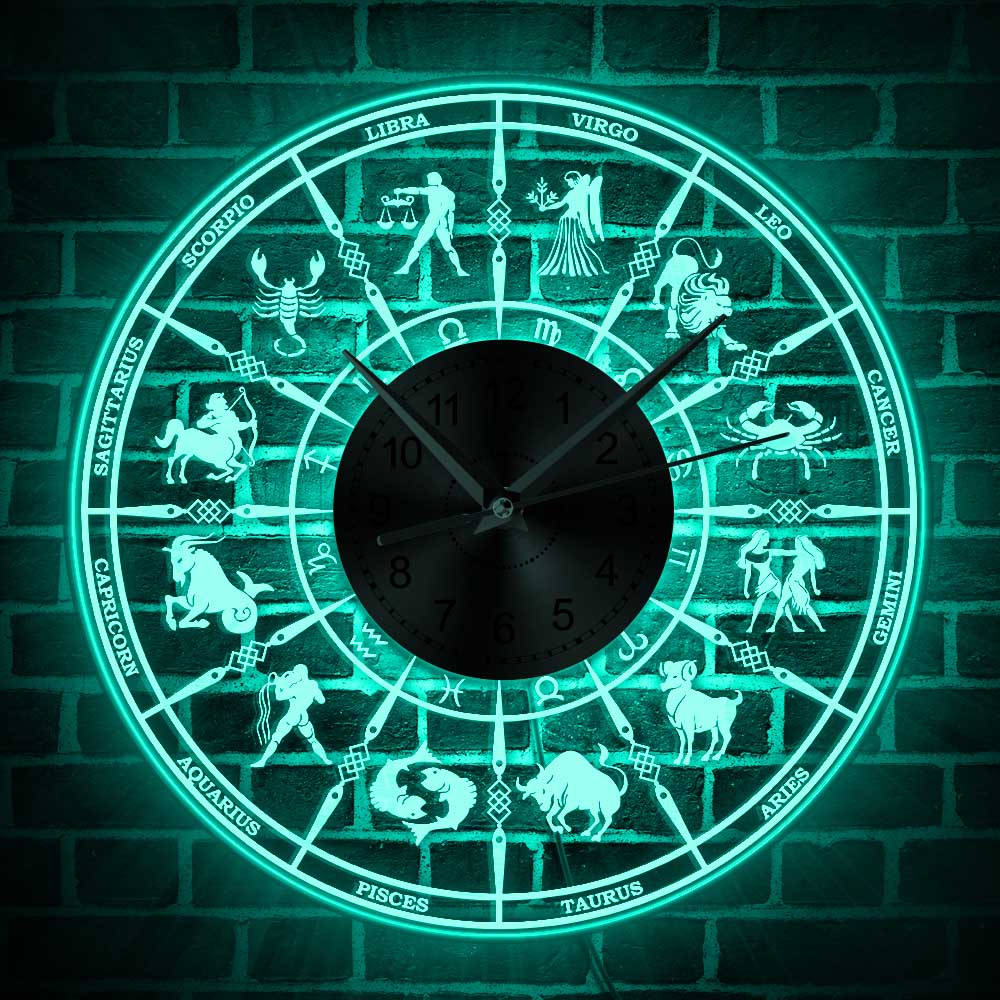 Zodiac Sign Astrological Acrylic Illuminated Wall Clock Astrology Lighting Home Decor LED Wall Light Astronomy Art Constellation