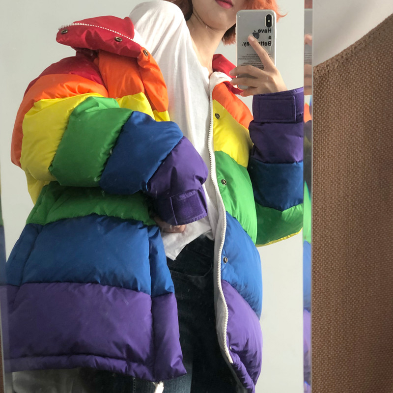 U-SWEAR Harajuku Winter Casual Jacket Women Rainbow Wadded Parka Plus Size Loose Striped Coat Femme Chaqueta Mujer