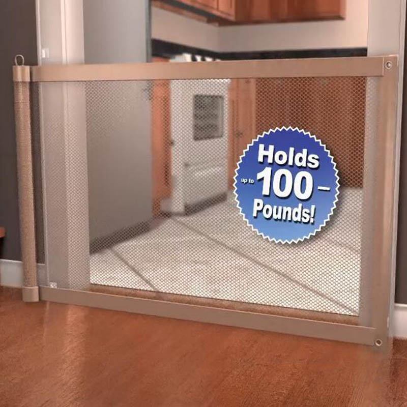 Pet Dog Safety Gate Baby Enclosure Safe Guard Folding Net Magic Mesh Fence Tool
