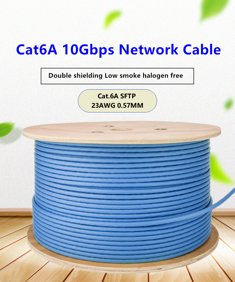 RJ45 Cable Cat6A Network Cable 10Gbps High Speed SFTP Double Shielding Ethernet Line For Home Computer Broadband Lan Cable Blue