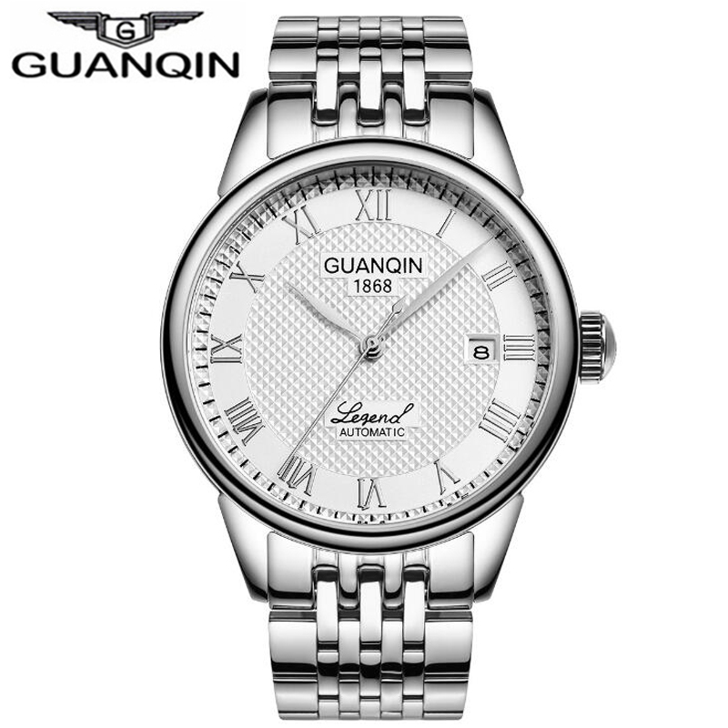 Automatic Self-Wind Mechanical Top Brand GUANQIN Watch Men Sapphire Crystal Glass Calendar Dress male Watches Men Sports Business Casual Watch Waterproof Relogio