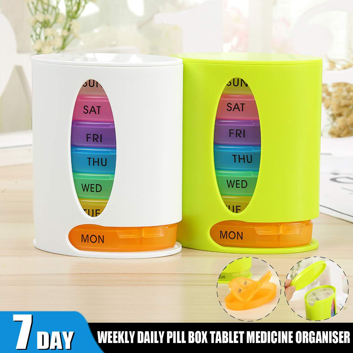 Pill Case With Grinder Pill Box For Travel Pill Case cutter Sealed Pill Case. Portable Pill Case 7 Grid Pill Cases Pill Case 7 days