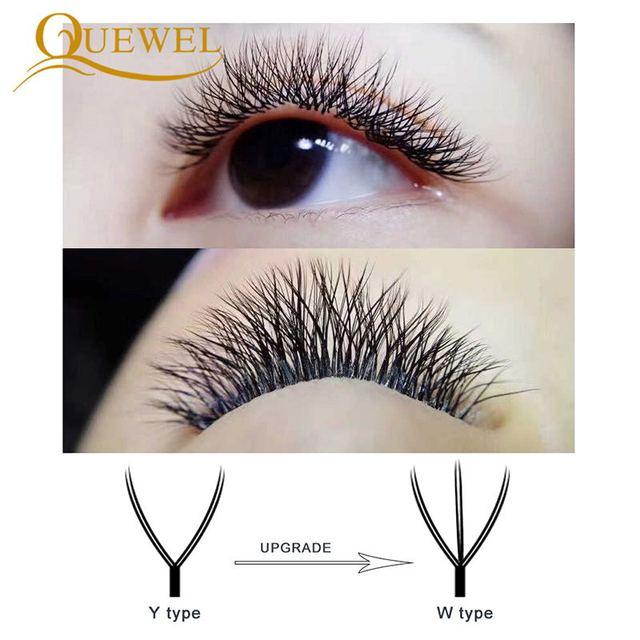Quewel W Shape Individual Volume Eyelashes W Style Double Tip Eyelash Extensions Fans C/D Curl New False Eye Lash Makeup Tool 4