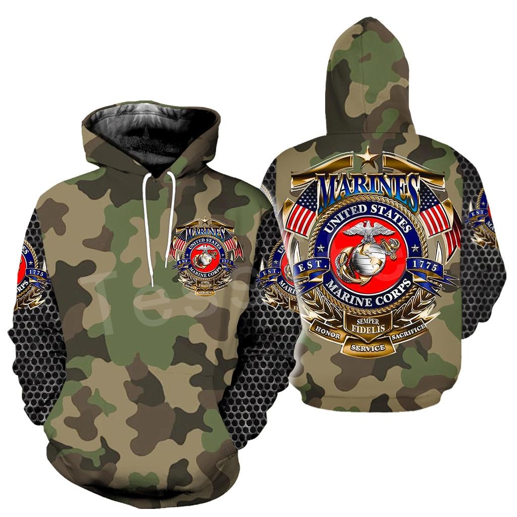 Tessffel America Marine Camo Skull Pullover Soldier Army NewFashion Harajuku 3DPrint Zip/Hoodie/Sweatshirt/Jacket/Men/Women B-16