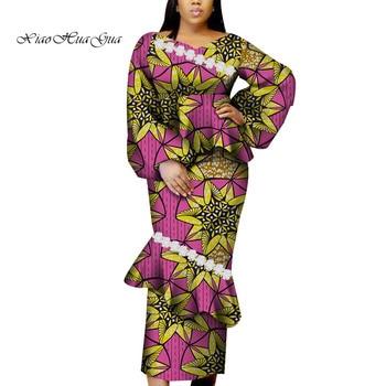 2020 African Dresses for Women African Wax Print Vestidos Long Maxi Ankara Dress Bazin Riche Traditional African Clothing WY6674