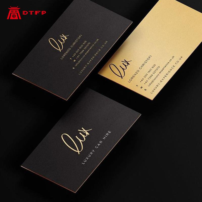Luxury Hot Stamping Custom Visiting Card With Your Own Gold Foil Logo Printing Business Card Office Supplies Postcards Set Cards