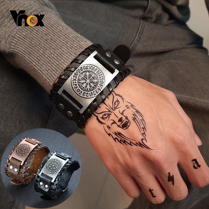 Vnox Men's Stylish Viking Leather Wrap Bracelets Rock Punk Compass Charm Male Wrist Jewelry Length Adjustable(China)