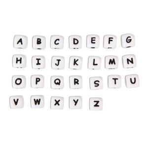 Image 1 - * 500 шт. силиконовые бусины с буквами, без БФА, Детские Прорезыватели с английским алфавитом, бусины для прорезывания зубов, для изготовления соски на цепочке, с индивидуальным именем