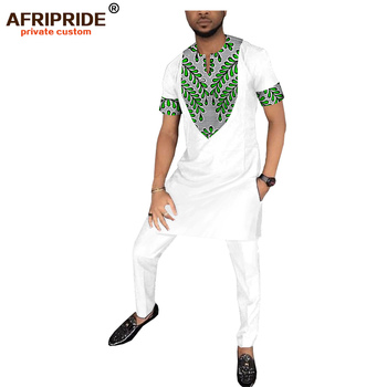 African Clothing Mens Long Shirt+Pant Set Dashiki Outfit Print Blouse Short Sleeve with Pocket AFRIPRIDE  A1816009