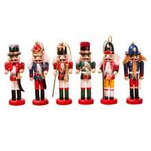 6 pçs de madeira nutcracker boneca fantoche soldado estatuetas em miniatura artesanato do vintage ano novo árvore natal ornamentos decoração da sua casa