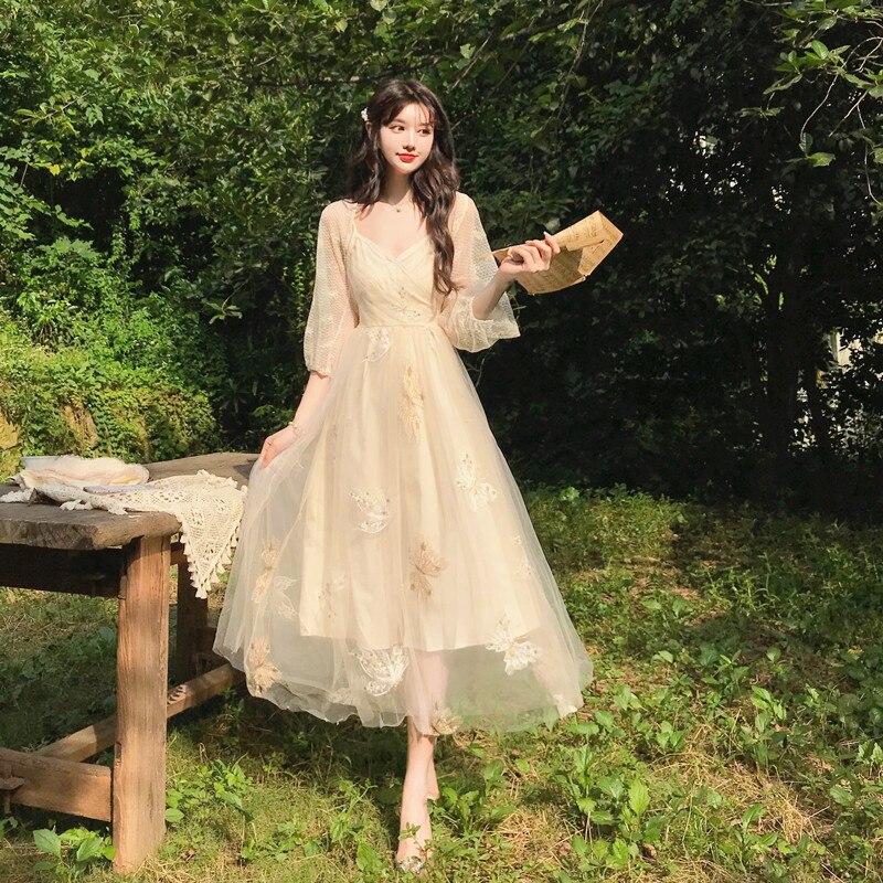 Fair Gauz A Line Dress 2020 New Summer Spaghetti Straps High Waist Puffy Dress + Lace Shirts Sets Elegant V neck Tea Vestidos