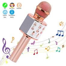 Ws858 portátil bluetooth karaoke microfone sem fio profissional alto-falante casa ktv handheld microfone para iphone android pc