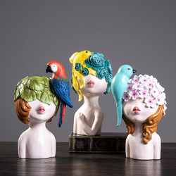 Ins nórdico moda resina pájaros chica Linda estatuillas de ángeles estatua Hogar Accesorios escritorio ornamento regalo de boda artesanal Decoración